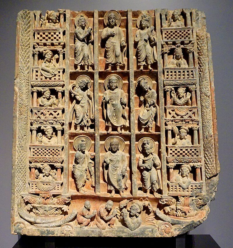 Descent to Sankissa, in the Greco-Buddhist art of Gandhara